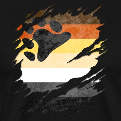Gay Bear Pride Flag Ripped Reveal - Men's Premium T-Shirt