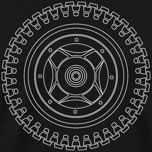 CT70 Wheel - Wireframe White - Men's Premium T-Shirt