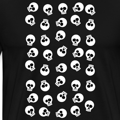 Cartoon Skulls Pattern Illustration - Men's Premium T-Shirt