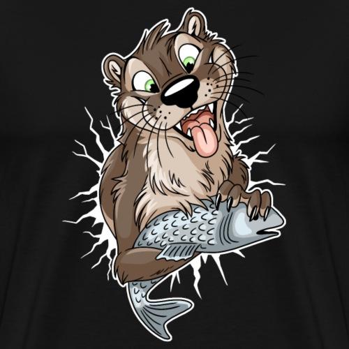 STUCK Otter (front) - white cracks - Men's Premium T-Shirt
