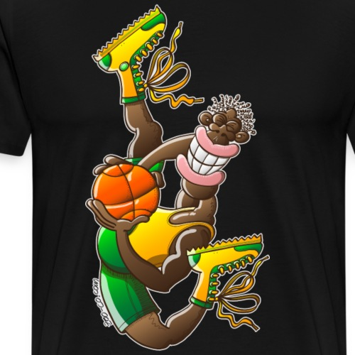 Acrobatic basketball player performing a high jump - Men's Premium T-Shirt