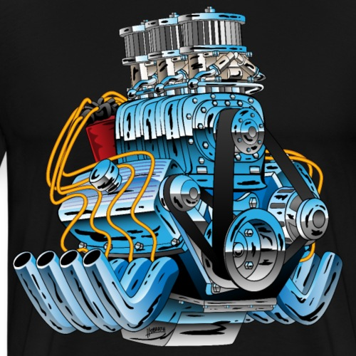 Hot Rod Race Car Dragster Engine Cartoon - Men's Premium T-Shirt