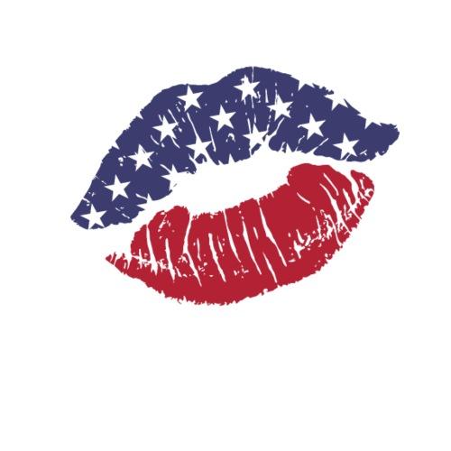 Female lips kisses stars red and blue - Men's Premium T-Shirt