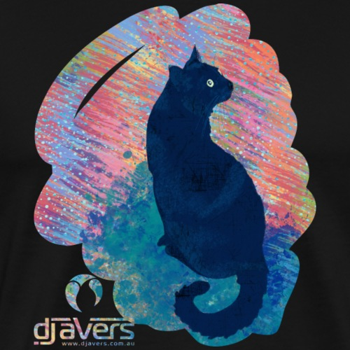 Black Kitty in a Rainbow - Men's Premium T-Shirt