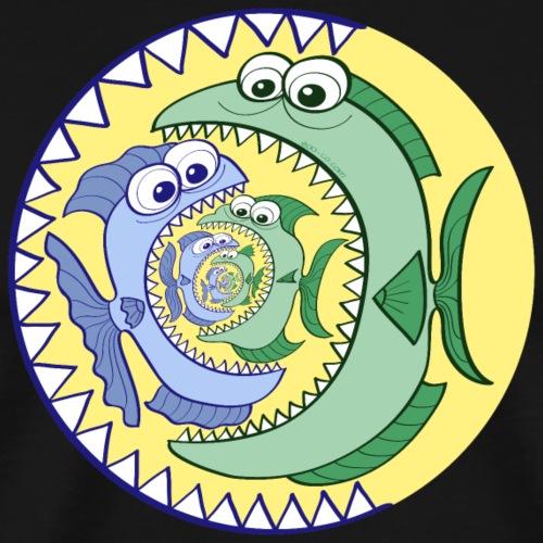 Weird food chain of voracious fishes - Men's Premium T-Shirt