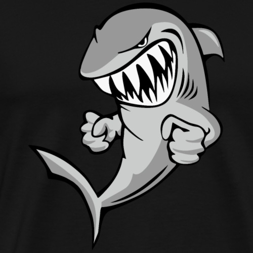 Shark With Attitude Cartoon - Men's Premium T-Shirt