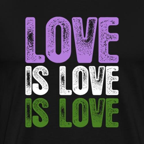 Genderqueer Pride Love is Love is Love - Men's Premium T-Shirt