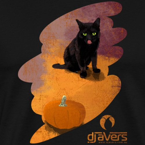 Black Cat and a Pumpkin - Men's Premium T-Shirt