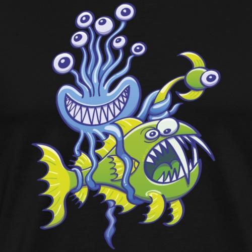 Monstrous octopus catching abbysal fish - Men's Premium T-Shirt