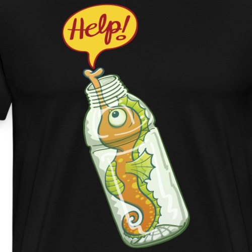 Seahorse trapped in plastic bottle asking for help - Men's Premium T-Shirt