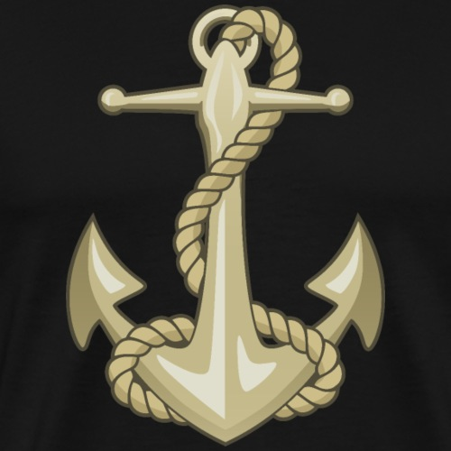 Gold Anchor and Rope - Men's Premium T-Shirt