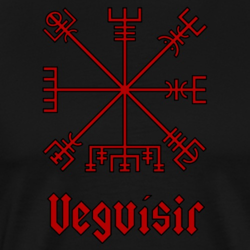 Vegvisir - red with black outline and text - Men's Premium T-Shirt