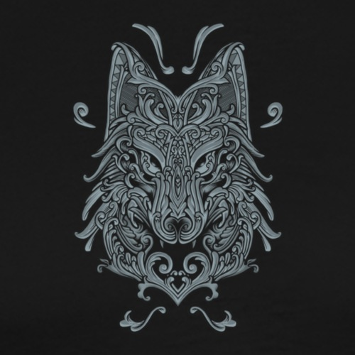 Wolf, Wolf Art, Wolf Drawing - Men's Premium T-Shirt