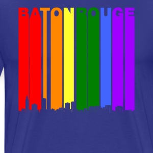 Baton Rouge Skyline Rainbow LGBT Gay Pride - Men's Premium T-Shirt