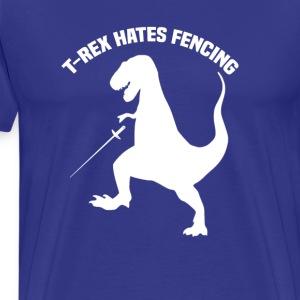 T-Rex Hates Fencing - Men's Premium T-Shirt
