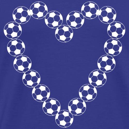 White Soccer Ball Heart - Men's Premium T-Shirt