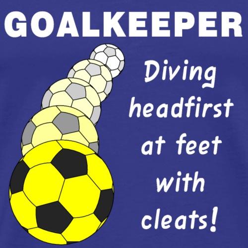 Soccer Goalkeeper White Text - Men's Premium T-Shirt