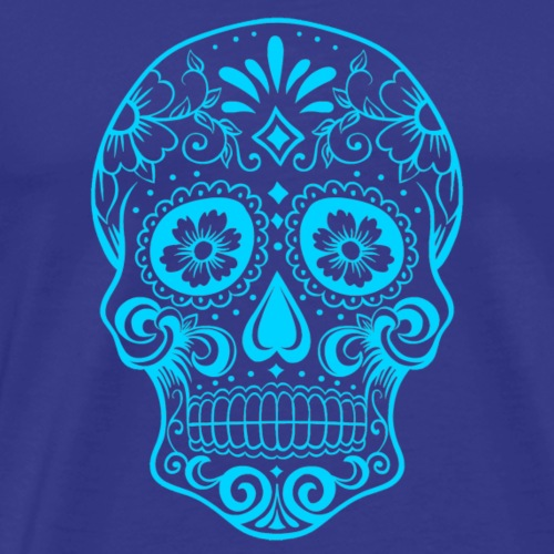 Decorative transparent skull, aqua blue - Men's Premium T-Shirt