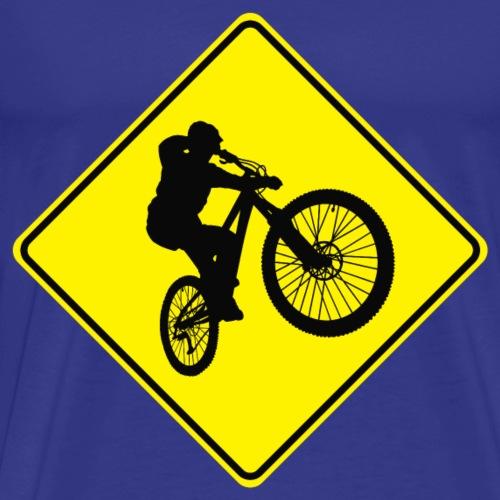 Mountain Biking Street Sign - Men's Premium T-Shirt