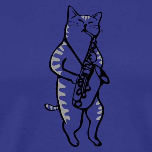 Cat with saxophone - Men's Premium T-Shirt