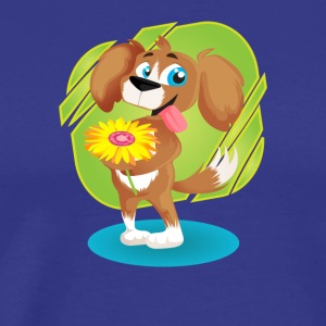 Lovely Puppy Holding Daisy - Men's Premium T-Shirt