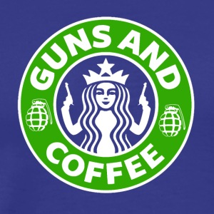 Guns and Coffee - Starbucks satire - Men's Premium T-Shirt