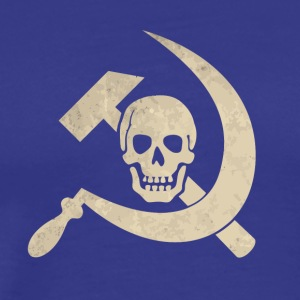 Cool golden skull with hammer and sickle - Men's Premium T-Shirt