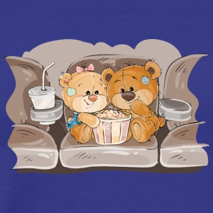 Couple bears love sofa popcorn cola animal - Men's Premium T-Shirt