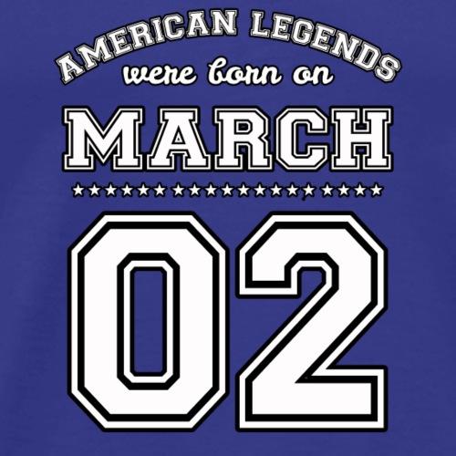 March 2 Birthday Date American Football Style - Men's Premium T-Shirt
