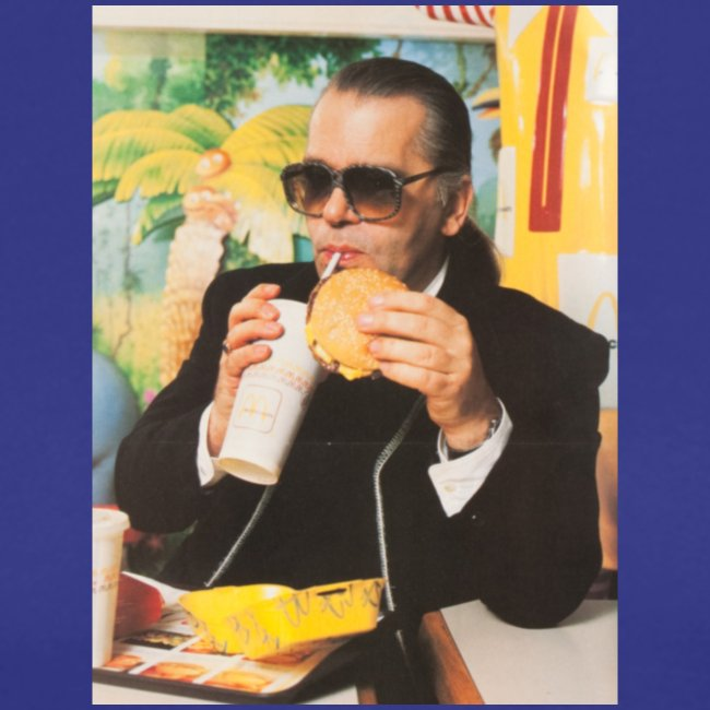 Karl Lagerfeld Eating a McDonald's Cheeseburger