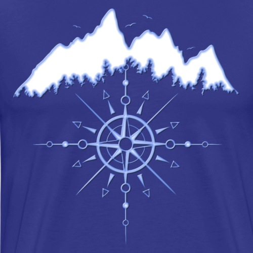 Mountains with Sun Totem and Wind Rose. Icy Blue. - Men's Premium T-Shirt