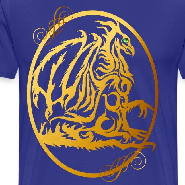 Gold Dragon Oval Design