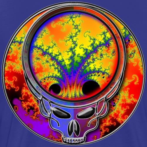 Cool Cosmic Fractal in Grateful Dead Style Skull - Men's Premium T-Shirt