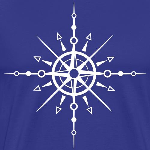 Snowflake, ice crystal. Sun with wind rose. - Men's Premium T-Shirt