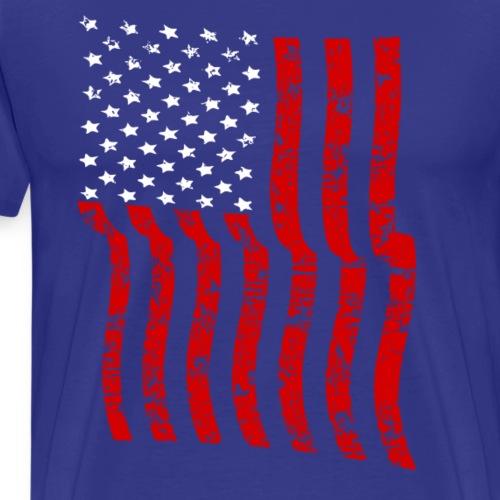 Vintage Waving USA Flag Patriotic T-Shirts Design - Men's Premium T-Shirt