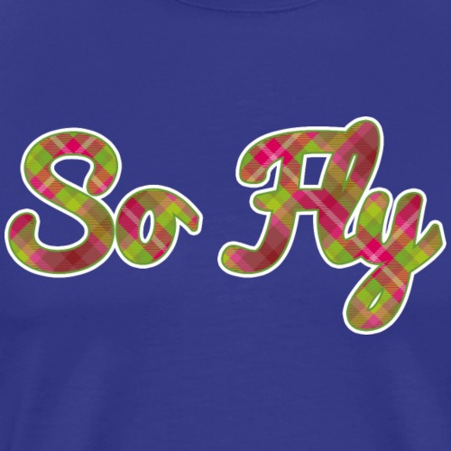 So Fly Pink and Green Plaid - Men's Premium T-Shirt