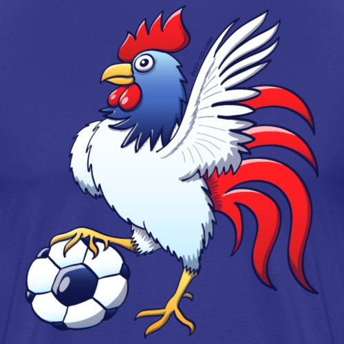 Rooster Posing and Stepping on a Soccer Ball - Men's Premium T-Shirt