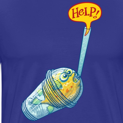 Blowfish inside a plastic glass asking for help - Men's Premium T-Shirt