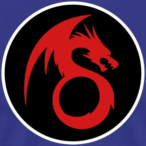 Dragon Tribal Tattoo Design in Circle - 3 Color - Men's Premium T-Shirt