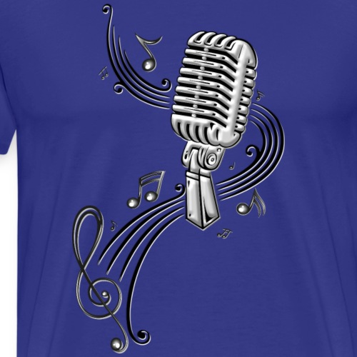 Microphone with sheet music. Music, clef. - Men's Premium T-Shirt