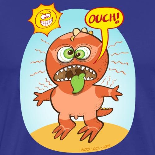 Bad summer sunburn for a funny dinosaur - Men's Premium T-Shirt