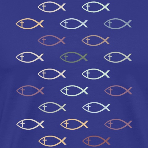 Ichthus with Cross Christian Fish Symbol - Men's Premium T-Shirt