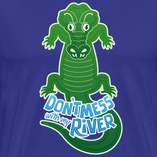Crocodile warning about not messing with his river - Men's Premium T-Shirt