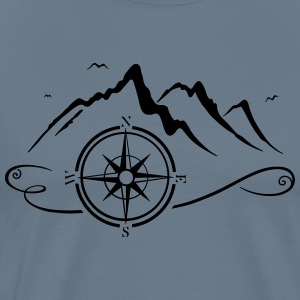 Mountains with compass - Men's Premium T-Shirt