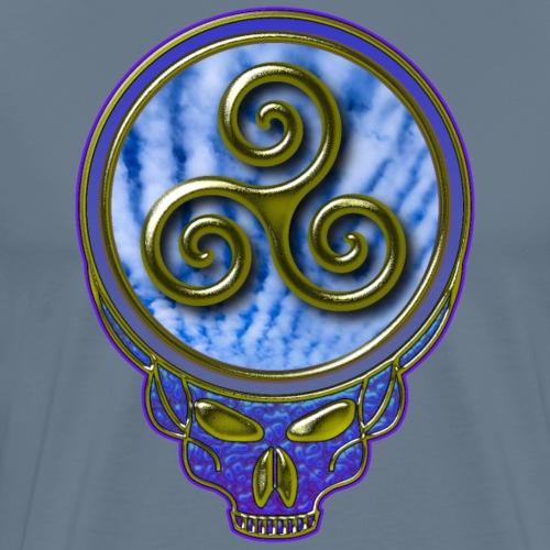 Karma Triskelion Swirl & Sky in Gold Dead Skull. - Men's Premium T-Shirt