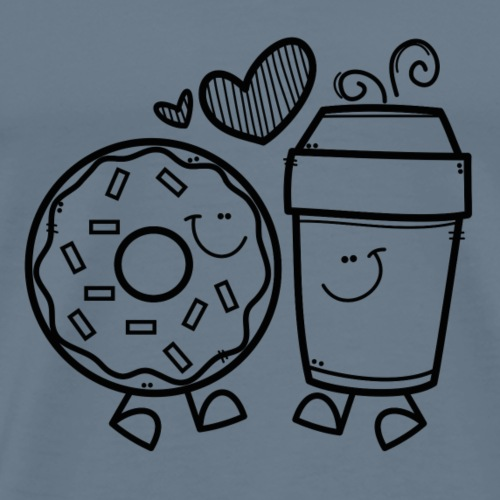 Donut_Coffee_Love_Blackline - Men's Premium T-Shirt