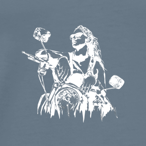 Motorcycle Illustration (white) - Men's Premium T-Shirt
