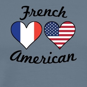 French American Flag Hearts - Men's Premium T-Shirt