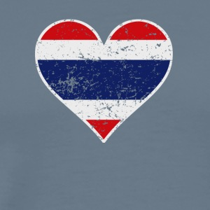 Distressed Thai Flag Heart - Men's Premium T-Shirt
