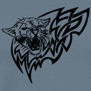 wild_cat_in_fire_black - Men's Premium T-Shirt